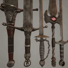 A selection of 5 highly detailed Fantasy War Swords for your FPS/RPG games and Levels.