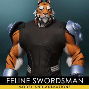 A sword-wielding feline warrior for MOBA and third-person action games.