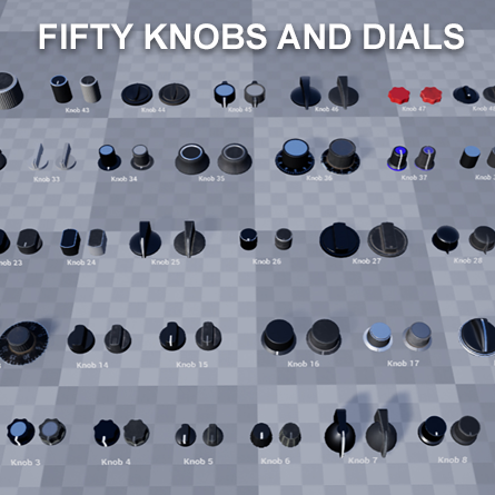 Fifty knobs and dials with both new and old PBR materials included for each.