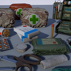 Ultimate set for First aid medical care. Created with highest industry standards. All necessary things to fix a character health. From painkiller pills to the doctor's bag.