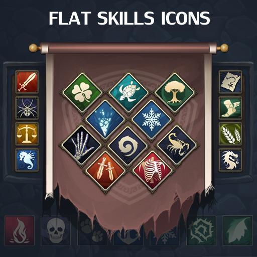 Set of 167 flat skills icons.