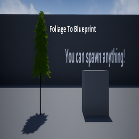This plugin lets you turn any foliage instance ( or instanced static mesh ) in the world into a blueprint or custom actor as well a database for spawning specific actors or blueprints based on the static mesh of the foliage or instanced mesh instance.