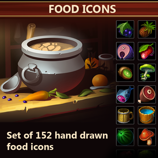 A set of 152 hand drawn food icons.