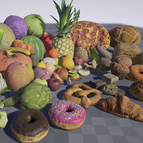 A collection of Fruits, Vegetable, Bread Assets created using photogrammetry. 111 Models