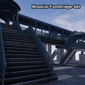 A Modular footbridge set for your scene, link between building, cross the road, train railroad, river and anything in your fingertips