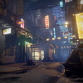 A forgotten alley in a Chinese city with a disorderly, decadent, and gloomy atmosphere.