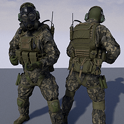 This pack include two soldier models, one with face mask and one with gas mask. Material system created with possibility to make color customization very quickly. You can choose from 6 predefined camouflage patterns end even add your own custom pattern.