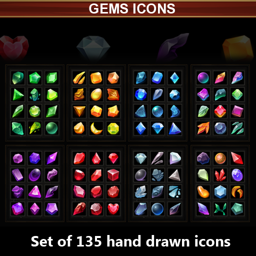 Set of 135 hand drawn gems icons.