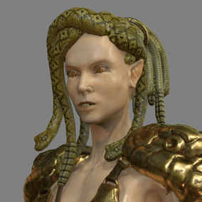 Here is one of the most dangerous creature of the mythology: the gorgon. This creature has some powerful short range (claws), middle range (stinger), long range attacks (bow) and its special magic eyes can transform whoever sees them into a statue.