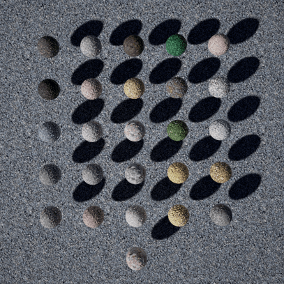 Seamless, highres (4k) PBR material set: 26 tiled stone floor materials in 4 categories.