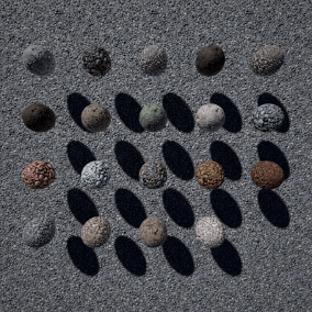 Seamless, highres (4k) PBR material set: 19 tiled stone floor materials in 3 categories.