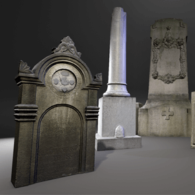 A set of 11 photo scanned Meshes of gravestones and pillars.