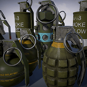 This pack include 5 classic US grenades. Thee FRAG's- MKII, M26,M67 One flash grenade - M84 and three colour variants for smoke grenade M18.