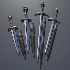 4 Medieval Dagger + scabbard models.