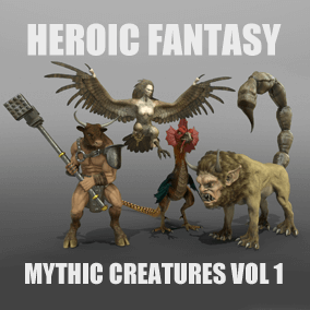 This pack currently contains 4 mythic creatures: Basilisk, Harpy, Manticora, Minotaur. It will receive 2 free Add-Ons: Phoenix and Griffon.