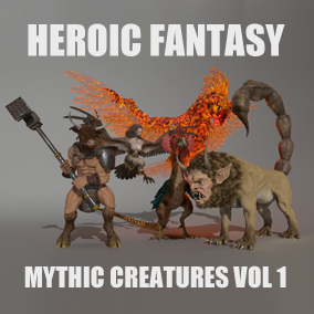 This pack currently contains 5 mythic creatures: Basilisk, Harpy, Manticora, Minotaur and phoenix. It will receive 1 free Add-On: Griffon.