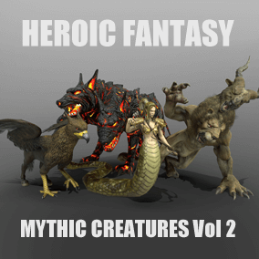 This pack contains 6 mythic creatures: Cerberus, Chimera, Gorgon, Hippogriff, Centaur and Pegasus/Unicorn.