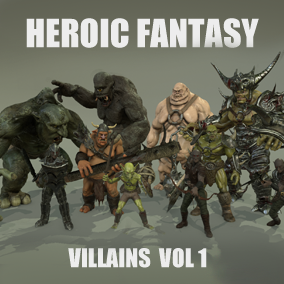 This pack gathers 8 heroic fantasy villains: darkness warlord, goblin, Hobgoblin orc, fat ogre, cyclops, dark elf and troll.