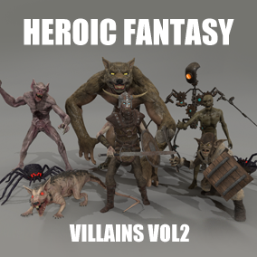 This pack gathers 8 heroic fantasy villains: automate, darkness spider, mummy, vampire, giant rat, kobold and werewolf.