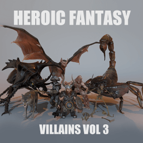 This pack currently gathers 8 heroic fantasy villains: dwarf, ghoul, giant bat, giant scorpion, fantasy wolf, giant beetle, fungoid and skeleton knight.