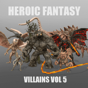 This pack currently gathers 7 heroic fantasy villains: demon lord, gargoyle, golem, hellrot, kraken, oak tree ent and undertaker. It will receive 1 free Add-On: Evil Watcher.