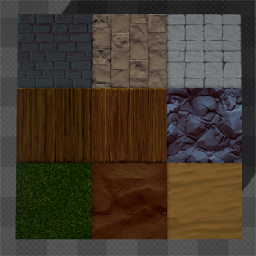 9 Hand painted tiled textures. Great for starting desktop or mobile games vertex painting.