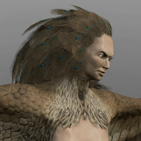 Here is a harpy, creature from the Greek mythology. This half woman half eagle is ready to attack your player character with its dangerous claws.