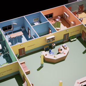 Low-poly asset pack designed to create hospital of any kind.