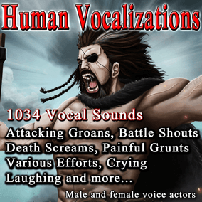 Human Vocalizations contains 1034 vocals sounds. Perfect for a variety of different games.