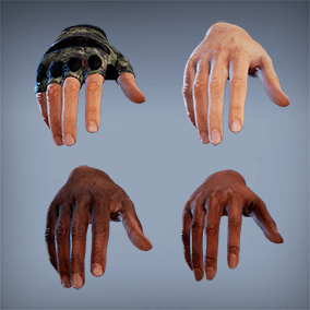 Photorealistic FP Hands w/ 4K textures, LODs, fully rigged/animated. Perfect for VR - 50 assets total.