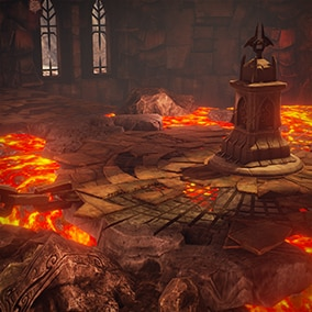 Lava abounds in Infinity Blade: Fire Lands, the radiant castle interior laced with unforgiving paths and dramatic props. It's one of three environments that ship with the Infinity Blade Collection.