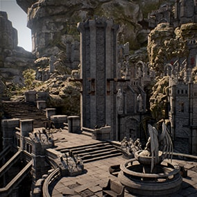 Infinity Blade: Grass Lands is the earthy citadel adorned with stone set pieces and beautiful props. It's one of three environments that ship with the Infinity Blade Collection, a massive suite of content designed for high-quality mobile experiences.