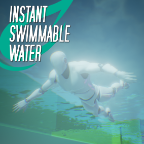 Drag drop and scale a swimmable water volume with instant water plane, levels, post process, physics, reefs and more.