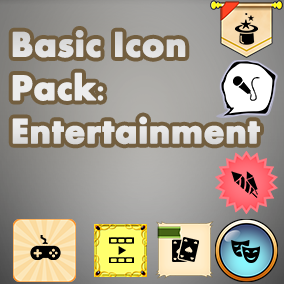 Basic, easy to use set of Entertainment icons, useful for any project, with an accompanying 40 background images to choose from.