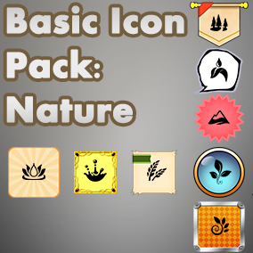 Basic, easy to use set of Nature icons, useful for any project, with an accompanying 40 background images to choose from.