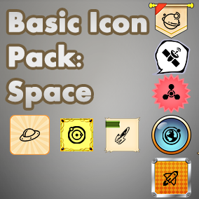 Basic, easy to use set of Space icons, useful for any project, with an accompanying 40 background images to choose from.