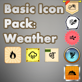 Basic, easy to use set of Weather icons, useful for any project, with an accompanying 40 background images to choose from.