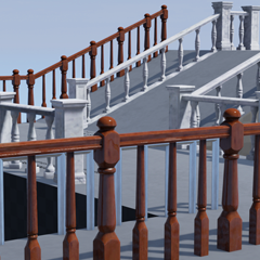 A highly flexible procedural handrail blueprint. Drag out customisable handrails to fit any space!