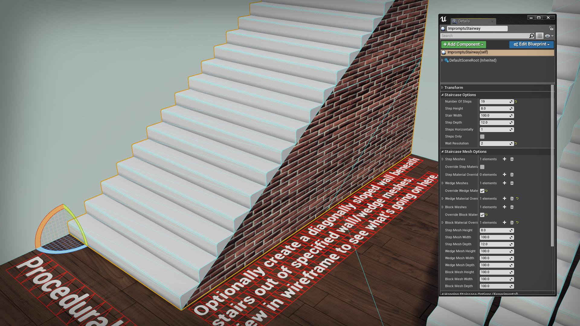 Impromptu Procedural Stairs By Impromptu Games In Blueprints Ue4