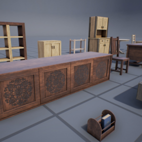 Wood-based interior props package containing 20 meshes (21 including the example book) all with high quality 4k PBR textures. Ideal to complement all sort of interior scenes, especially cabins/cottages. All objects present a light wear and tear.