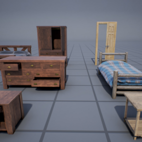 Wood-based interior props package containing 15 models (30 separate meshes), all with quality 4k PBR textures. Ideal to complement all sorts of interior scenes.