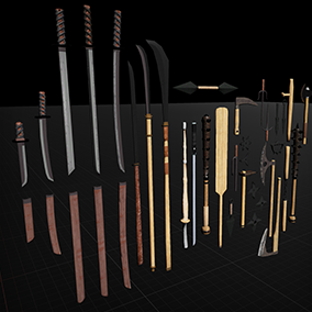 Collection includes 32 Lowpoly/Midpoly quality weapons with 2K Textures.