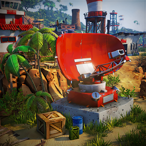 The object pack to create a stylized base in the jungle.