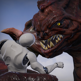 Kaiju One can be a platformer style boss fight, mount, or ambient creature for your game.