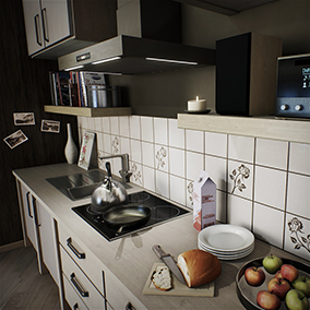 Architectural visualisation of a studio apartment with kitchenette.