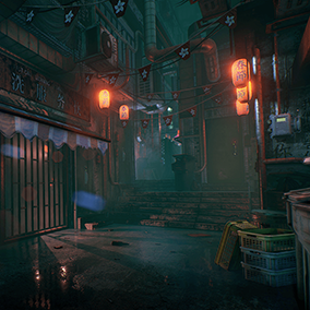 An Asian alley set during the night.  Inspired by elements from modern Hong Kong and the history of the Kowloon walled city.  The scene is delivered as depicted in the screenshots attached.