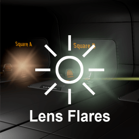 This content is designed to help simulate custom lens flare effects like simple flares around light sources, sun, or anamorphic lens flares and correctly handle cases when objects are overlapped.