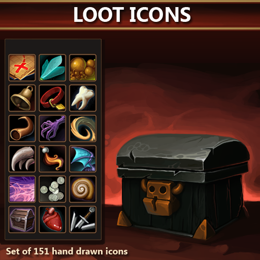 Set of 151 hand drawn loot icons.