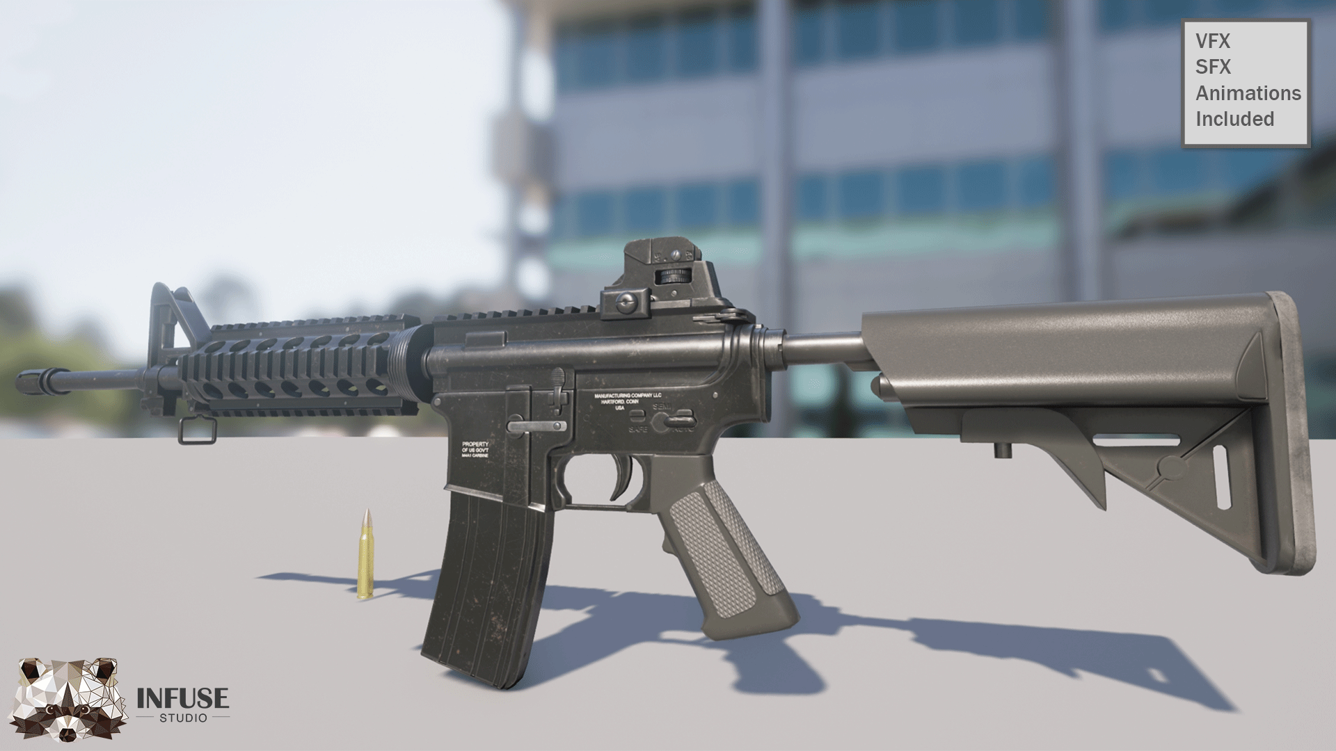 Animated M4A1 Assualt Rifle Pack by Infuse Studio in Weapons