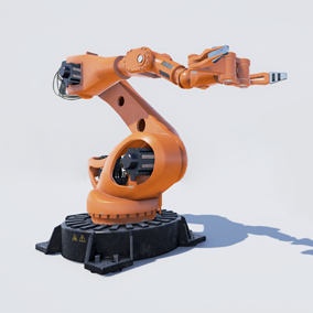 Blue print asset for simulate sci-fi industrial style manipulator robot